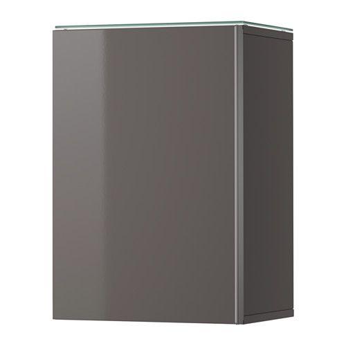 GODMORGON Wall cabinet with 1 door, high gloss gray high gloss gray 15 3/4x11 3/4x22 7/8