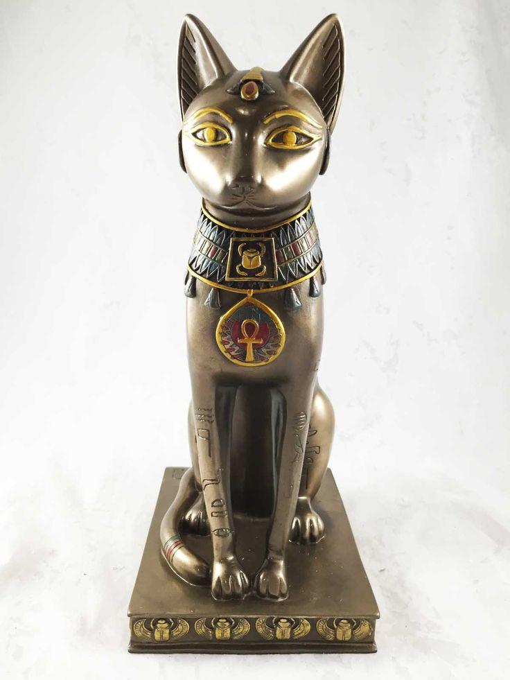 """Amazon.com - Бронзовая Египетский кот Бастет Божество Статуя Фигурка протектор фараона Это прекрасная скульптура стоит на 12,5 """"высокий, 6"""" долго и 5 """"глубоко приблизительно. Он изготовлен из дизайнерской композита, ручной росписью и полированного индивидуально. Цветовой тон может отличаться от фотографии -"""