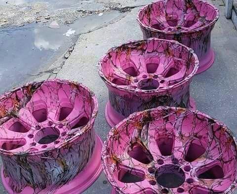 Pink Camo Wheel Rims
