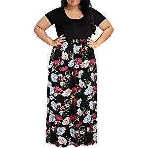 Cooljun Damen Übergröße Kleider Frauen Chevron …