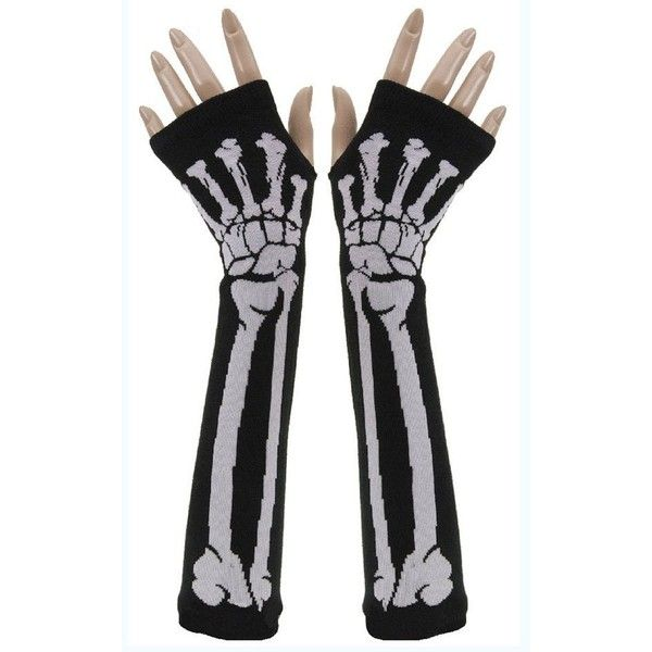 Amazon.com: New Black Punk Gothic Dark Rock White Skeleton Long Arm... ($8) ❤ liked on Polyvore featuring accessories, gloves, other, hands, gothic fingerless gloves, fingerless gloves, gothic gloves, white gloves and skeleton gloves