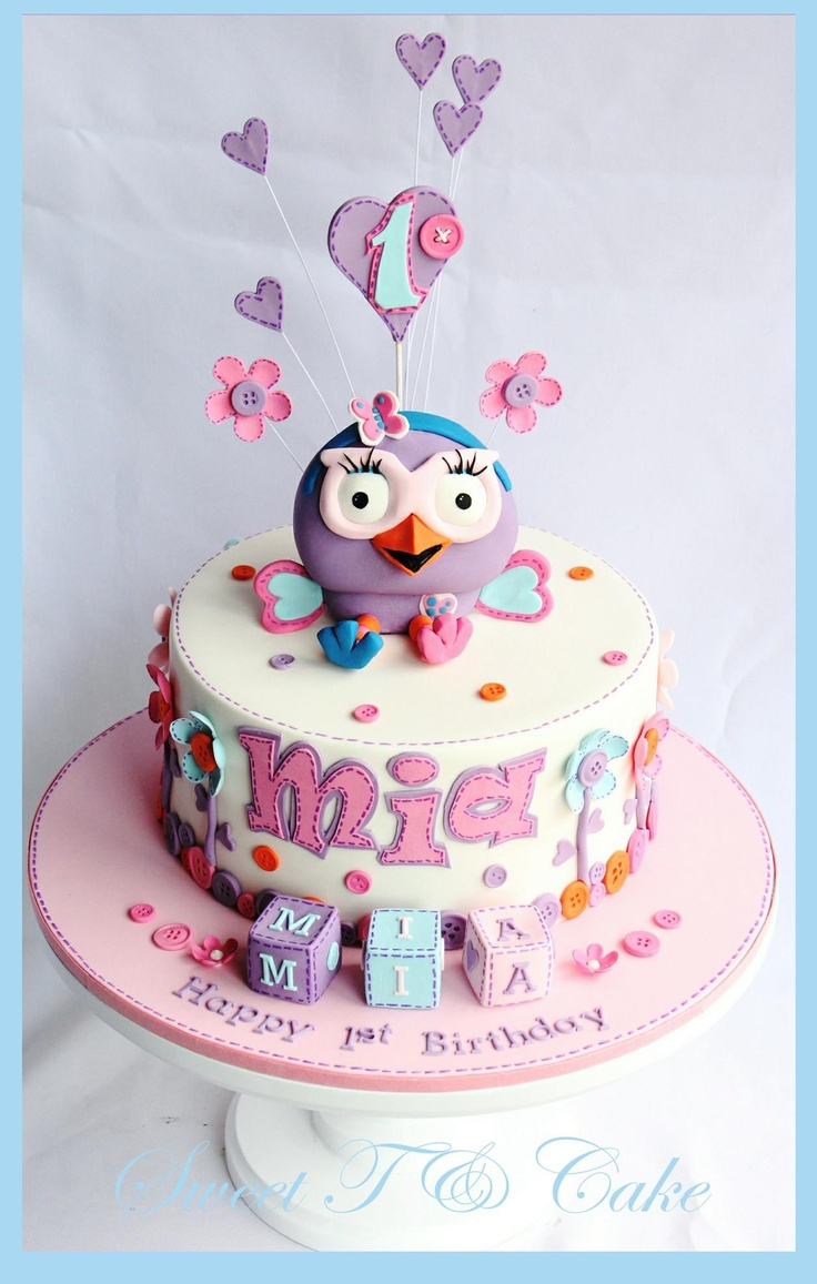 Hootabelle Owl 1st birthday cake by Sweet T & Cake