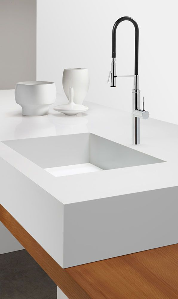 Kitchen Benchtop 1141 Pure White with black and chrome kitchen tap. #kitchen #tapware #sydney