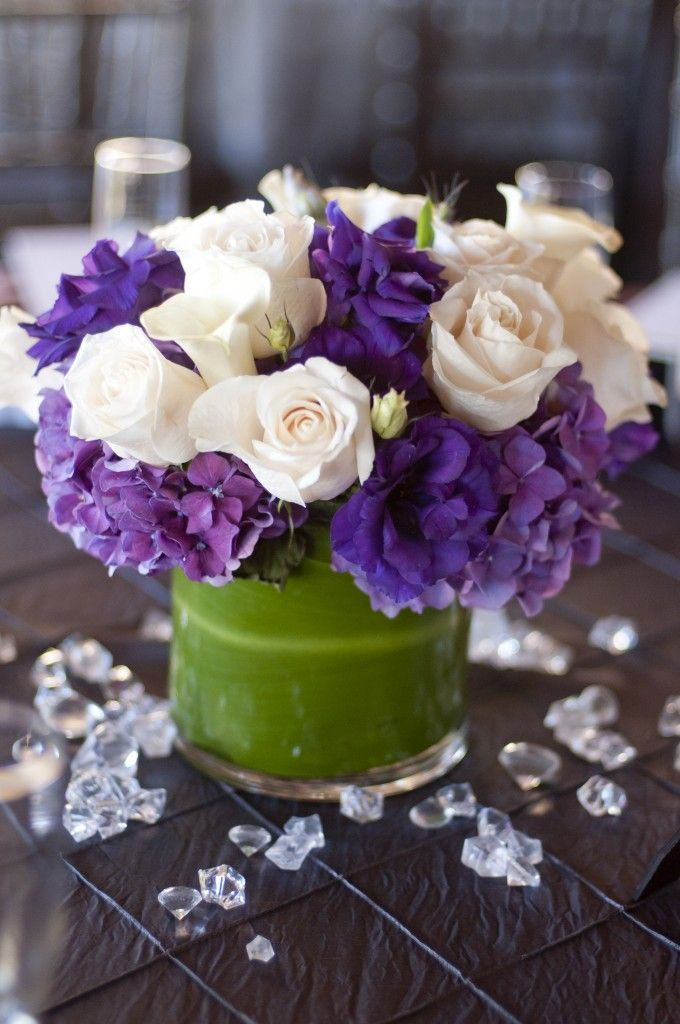 Purple hydrenga, white roses, purple lisianthus, & white mini calla lilies. #naakiti