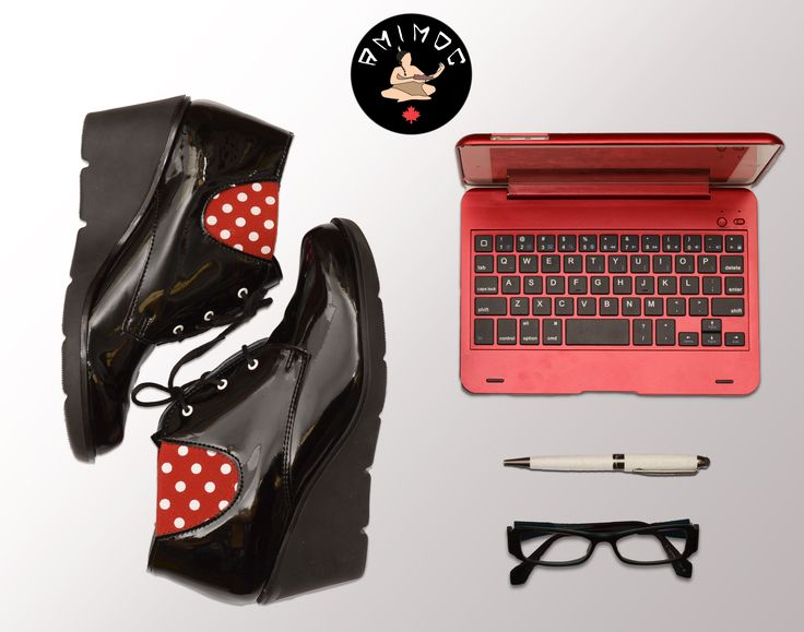 Perfect for work !  #wedges #work #grilboss #footwear #cute #beautiful #polkadots #perfectforwork #handmade #madeincanada