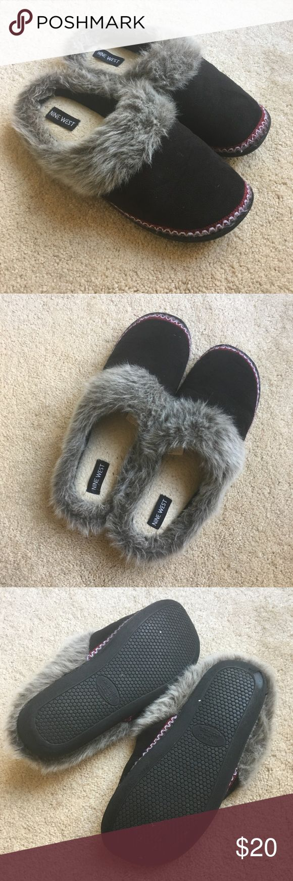 Nine West Slippers House Shoes Gently used, normal signs of wear. Quality Nine West make. Faux fur detail. US size 9-10. Soft, lightweight with durable bottoms for indoor and outdoor wear. Nine West Shoes Slippers