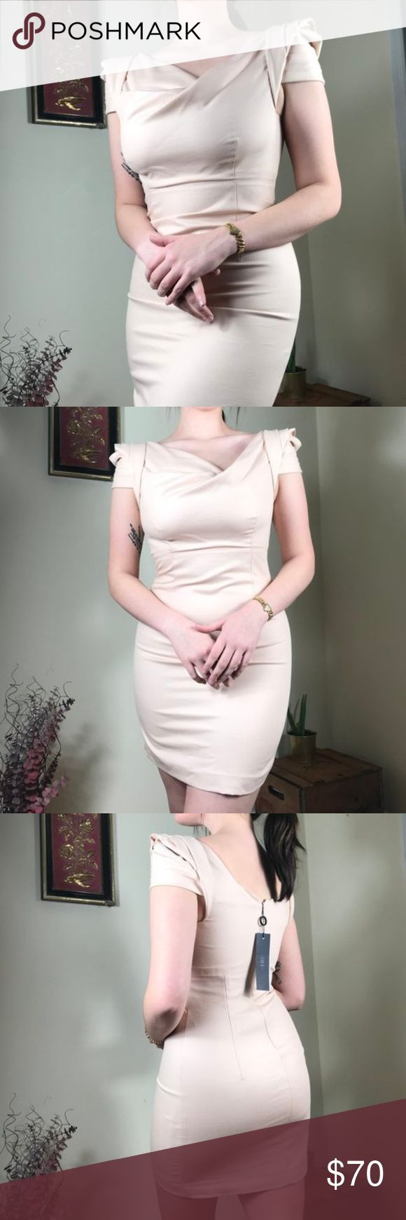 Vintage New with Tags Blush Dress Vintage new with tags nude blush toned dress that beautifully comes half off the shoulders. Somewhat stretchy to form to your body, but was modeled on a size 8. This was originally $372, so it's a TOTAL once in a life time steal. Black Halo Dresses Midi