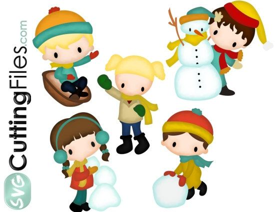 Winter Kids SET of 5 files snowman winter holiday, SVG cutting files cricut  silhouette cutting machines,  for card making and scrapbooking