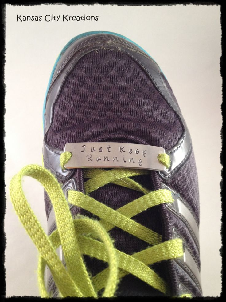 Hand-Stamped Shoelace Plate for Running or Fitness Motivation - Kansas City Kreations by KansasCityKreations on Etsy https://www.etsy.com/ca/listing/156508369/hand-stamped-shoelace-plate-for-running