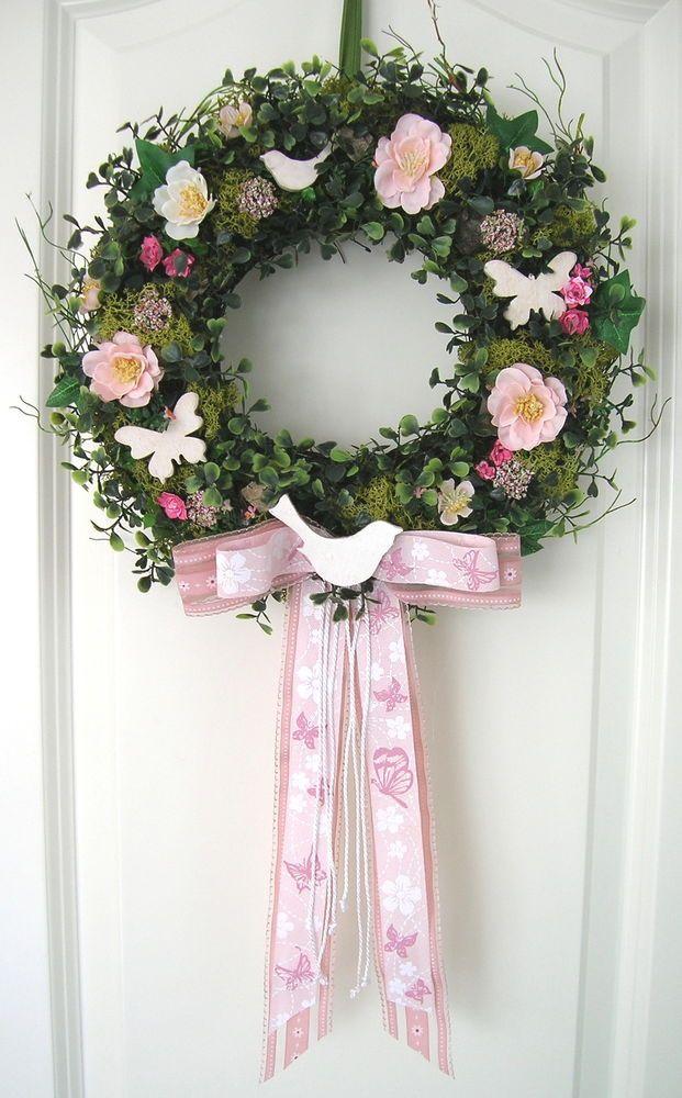 Kranz Sommer rosa Wandkranz Shabby Tükranz Frühling Blumenkranz Seidenblumen