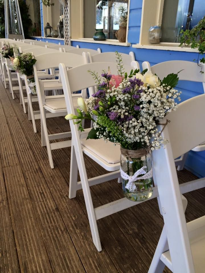 Chair Flowers | Mixed Jar | Lusty Glaze Beach | Newquay, Cornwall | Kelly Ann's Flowers | Hanging Jar | Pew Ends
