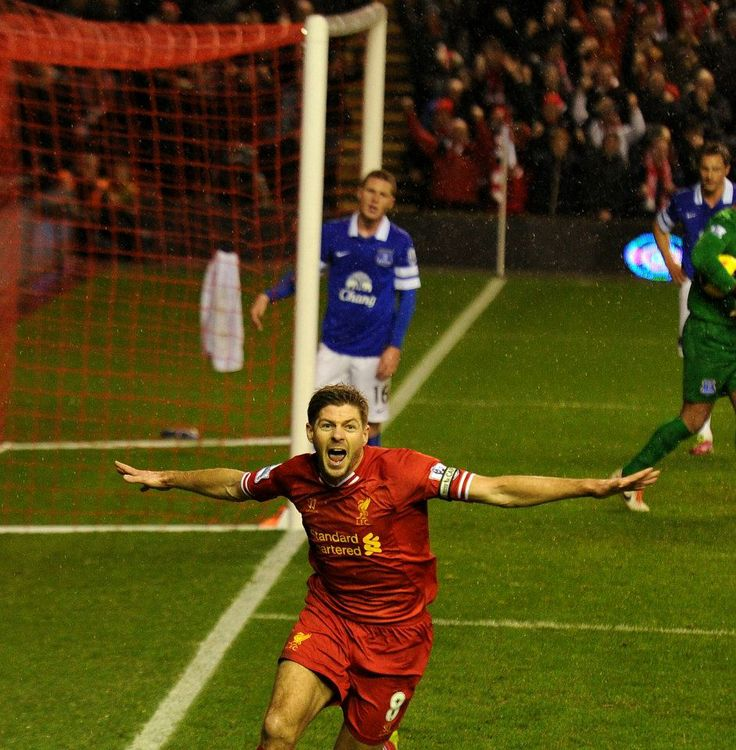 Captain Fantastic gives Liverpool a deserved early lead in the Merseyside derby! #LFC #derbyday