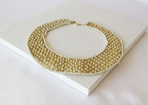 Gold Collar Necklace Peter Pan Collar Pearl Collar by aynurdereli, $99.00 #Gold #Collar #Necklace
