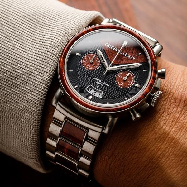 Chrono Rosewood / Silver Steel - Original Grain Watches