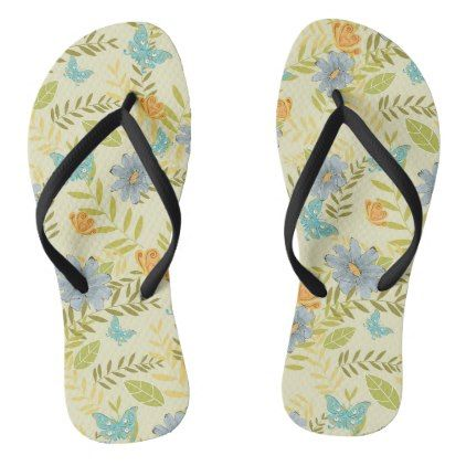 Botanical Beauty Flip Flops Thongs Jandals - diy cyo customize create your own #personalize