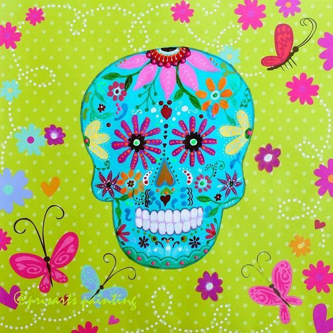 Mexican Day of the Dead Calavera Skull Original Painting Art Flowers PRISARTS #MexicanFolkArt CALACA, TATTOO, INK, ARTE MEXICANA, PRISARTS, PRISTINE CARTERA TURKUS
