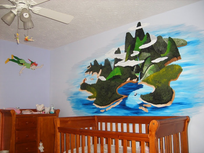 peter pan neverland nursery mural for over the crib