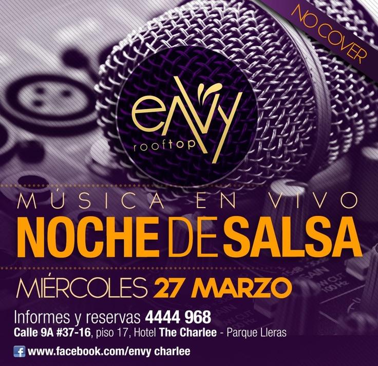 Noche de Salsa sin cover en Envy RoofTop by The Charlee Hotel! http://www.mirolo.net/Medellin/Envy.aspx