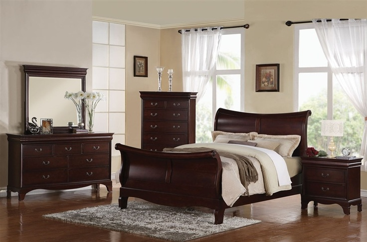 ac20210 darien dark cherry solid wood sleigh bed dark wood
