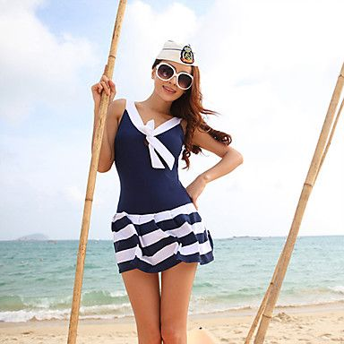 Women's Navy Stripes One Piece Swim Dress With Bra Pads - USD $ 39.89 http://www.lightinthebox.com/ I love nautical stuff....um hope the pads come out, cuz I'd need room for the girls.