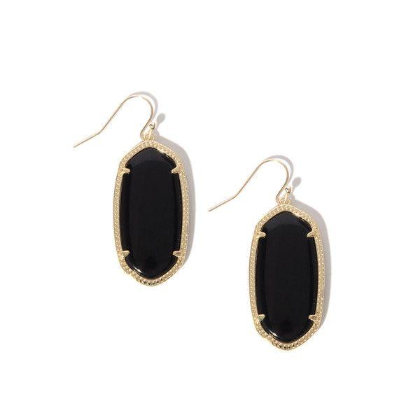 Kendra Scott Elle ($55) ❤ liked on Polyvore featuring jewelry, earrings, black, glass earrings, kendra scott, glass jewelry, fish hook earrings and glass drop earrings