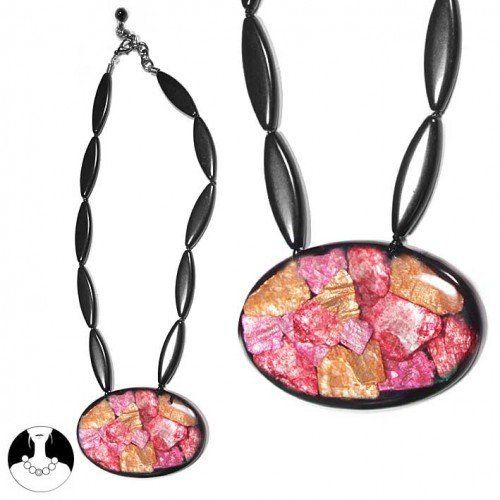 SG Paris Necklace 50cm+Ext Black and Pink Comb Rose Combinaison Necklace Necklace Resin Summer Women Chameleon Women Fashion Jewelry / Hair Accessories Oval SG Paris. $10.16