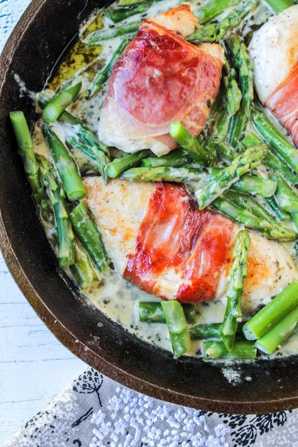 """Prosciutto-Wrapped Chicken with Asparagus"" 
