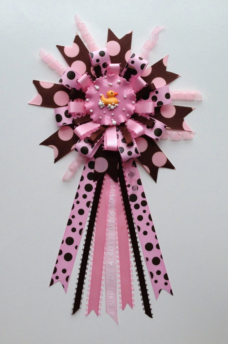 Rubber Ducky Baby Girl Baby Shower Pin Corsage By