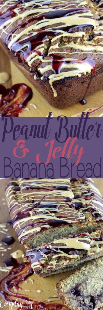 A classic childhood favorite with a new twist; this Peanut Butter & Jelly Banana Bread is going to quickly become your favorite!| EverydayMadeFresh.com https://www.everydaymadefresh.com/peanut-butter-jelly-banana-bread/