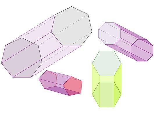regular pentagonal hexagonal heptagonal and octagonal prism