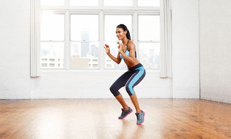 High-Intensity Interval Training Workout Low-Squat Sprint Targets butt, quads, calves  Stand with feet wider than shoulder width, elbows bent by sides, palms facing forward. Lower into a squat and, raising up on balls of feet, sprint in place. Continue for 30 seconds as quickly as possible.
