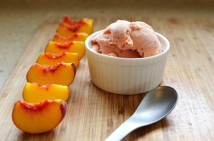 Peach Sherbet - Only 3 ingredients needed to bring this delicious refreshing dessert together.