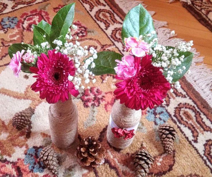 Burlap vase decoration