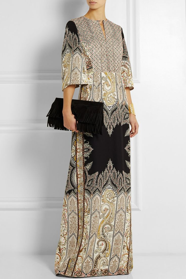 Etro|Embellished printed silk-crepe gown|NET-A-PORTER.COM
