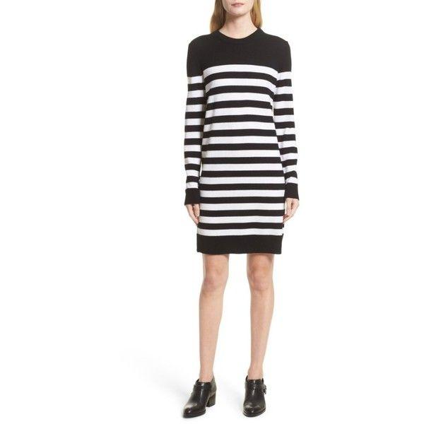 Women's Rag & Bone Lilian Stripe Merino Wool Dress (€255) ❤ liked on Polyvore featuring dresses, graphic print dress, rag bone dress, merino wool sweater dress, sweater dress and white striped dress