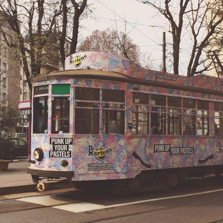 cute colorful tram in Milan, Italy