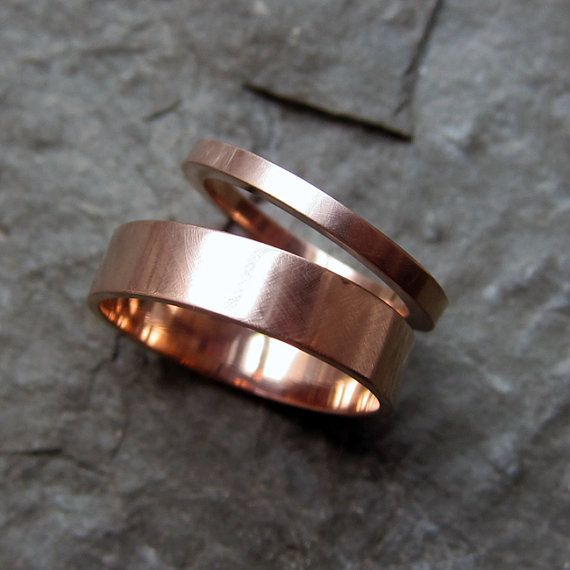 Rose gold wedding rings  14k recycled rose gold  by metalicious, $690.00