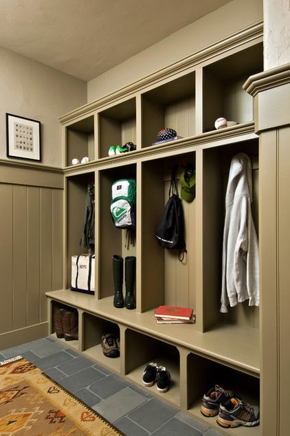 I don't have much space in the front hall, but love the idea of cubbies for each family member. I'd ensure that cubbies are wide enough for a hanger as well. modern hall by Witt Construction