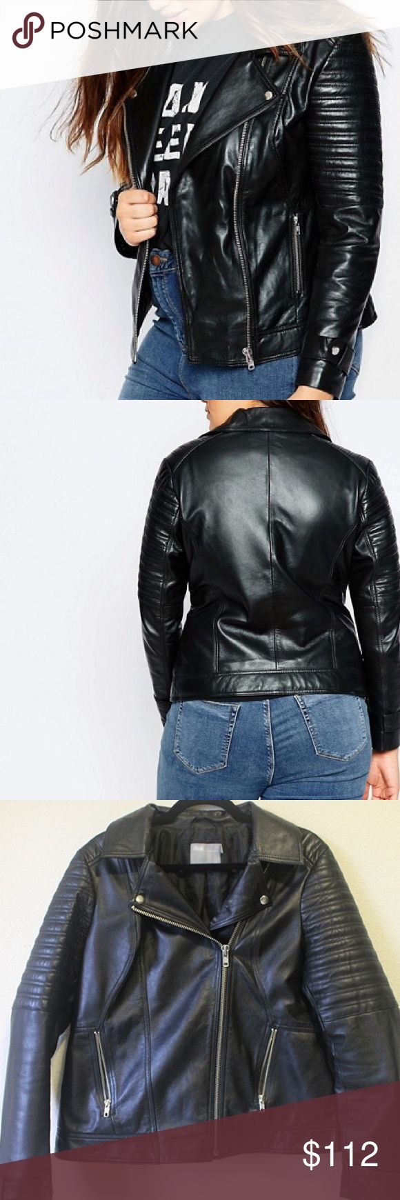 Asos Leather Motorcycle Jacket Fully-lined matte leather jacket with moto-inspired detailing. Quilted sleeve panels, zip pockets, cuff snaps. I love this thing, it's just a bit too big for me. Super versatile. Makes you look badass. ASOS Jackets & Coats