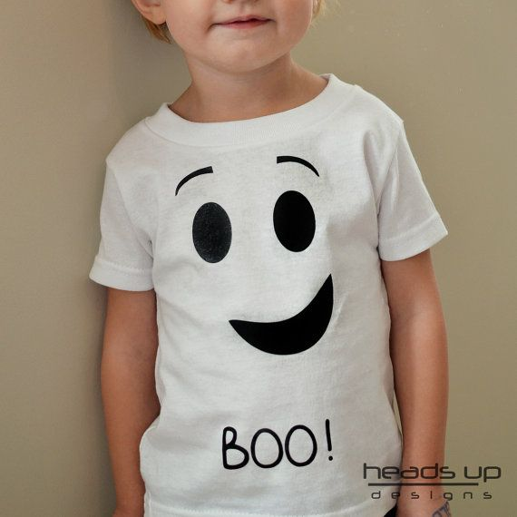 Kids Ghost Shirt  Toddler Halloween Shirt  by headsupdesigns