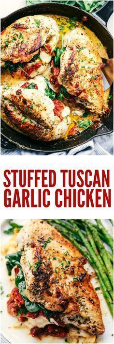 Stuffed Tuscan Garlic Chicken are tender and juicy chicken stuffed with mozzarella cheese, sun-dried tomatoes, and spinach that gets baked in a creamy garlic sauce. This meal will blow the family away!
