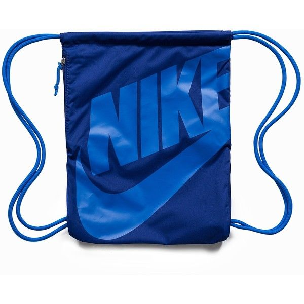 Nike Heritage Age Gymsack ($28) ❤ liked on Polyvore featuring bags, accessories, deep blue, womens-fashion, nike, nike bag, logo bags, shoulder bags and blue gift bags