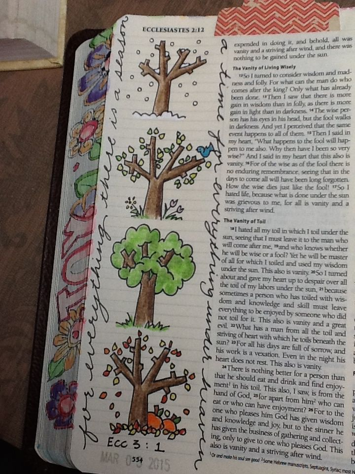 """Ecc 3:1 - """"Seasons"""" - In honor of daylight saving time and the upcoming changing of the seasons, Happy Spring!! - Bible journaling by Nola"""