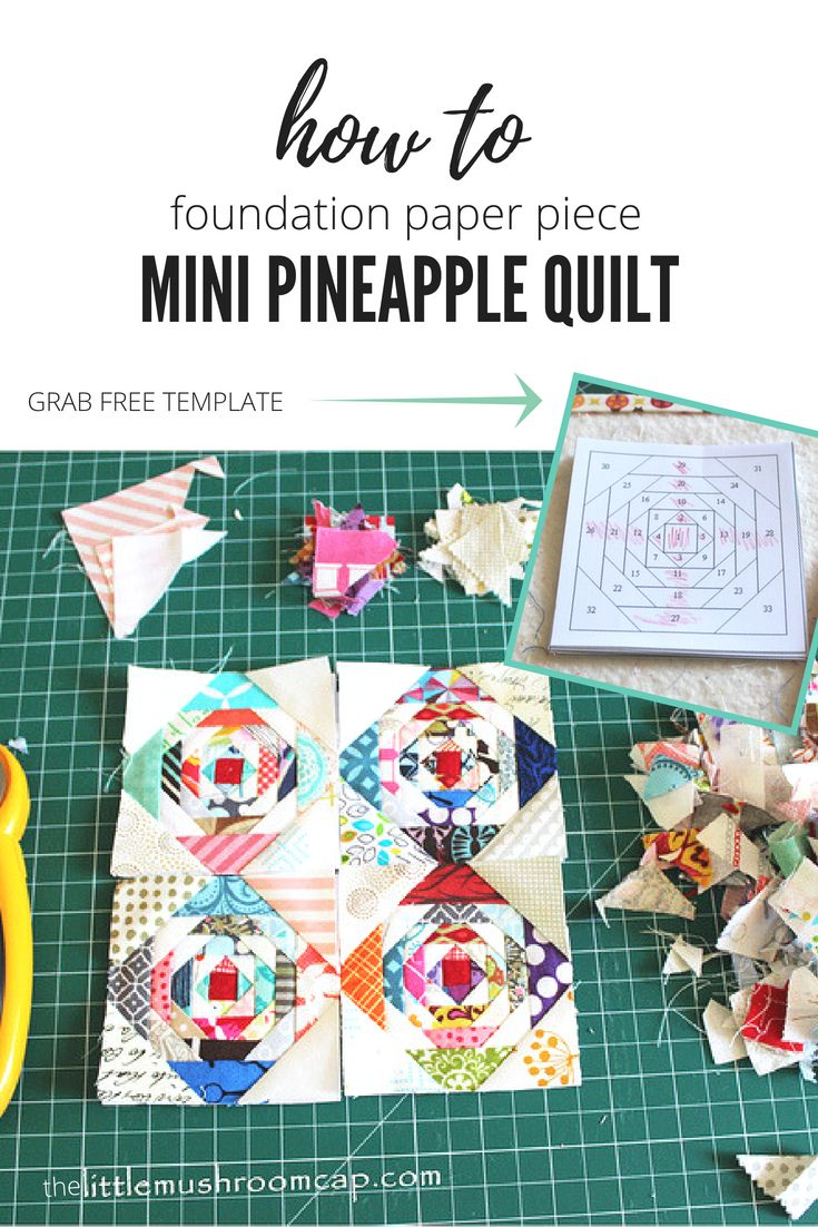 Paper pieced 3″ Pineapple Log Cabin Block Mini Quilt Progress : Free paper piecing template + A video