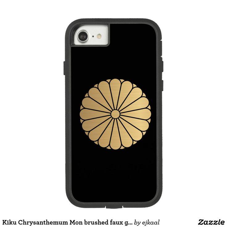 Kiku Chrysanthemum Mon brushed faux gold on black
