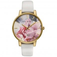 Ladies Ted Baker Katie White Leather Strap Watch
