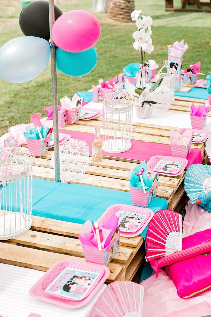 Japanese Garden Picnic Party Birthday Party Tables