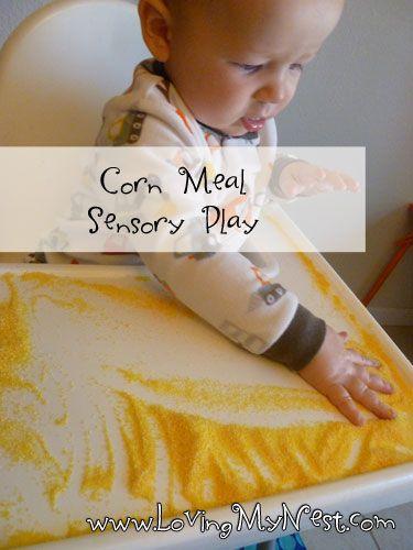 Cornmeal Sensory Play @ Loving My Nest, easy!