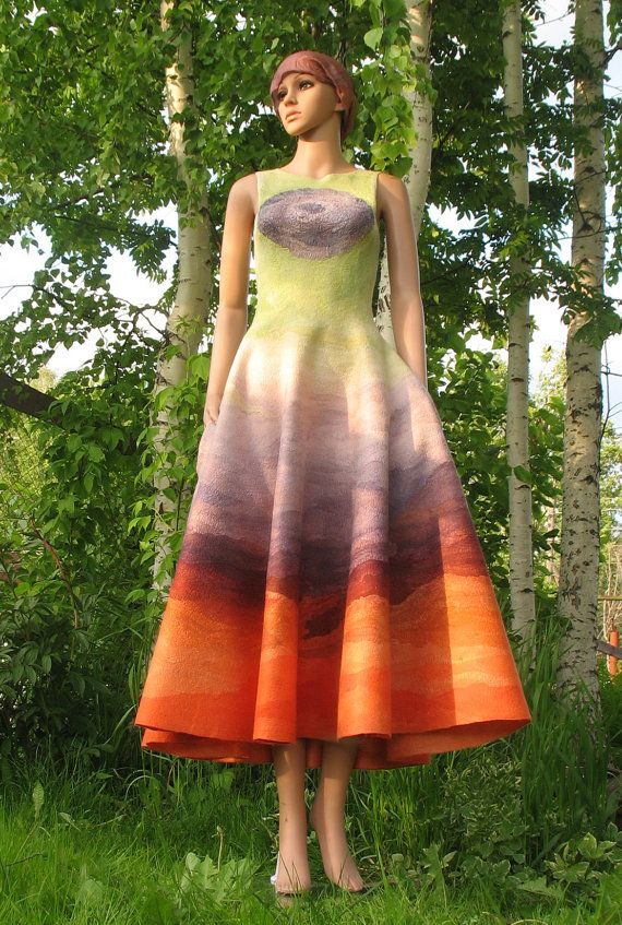 Nuno felt maxi dress with full skirt and pockets by SultanFelt, $460.00. Now this is simply out of this world and everyone would notice you if you wore it. Special order colors available too.