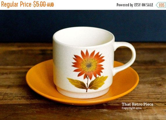Flash sale -- 20% OFF -- Johnson of Australia 'Tonga' teacup/saucer set (c. 1975-77)